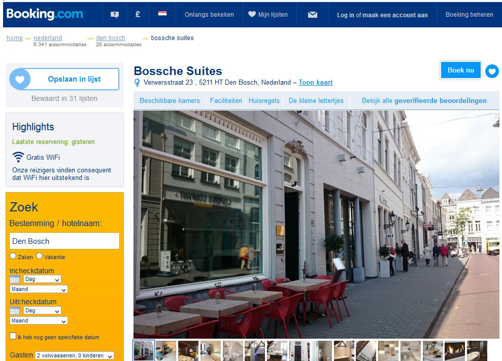 bed and breakfast bossche suites